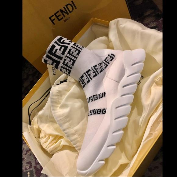 f8c105fca9a2 FENDI Knit High Top Logo Sneakers - MENS (New)
